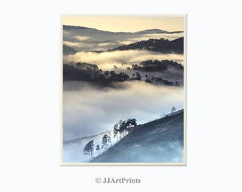 Mountains and fog printable photo, landscape download, forest, mountains and clouds photo, landscape print - living room, office wall art