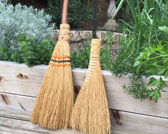 vintage whisk brooms pair - handmade hand tied - wood handles - straw hand broom - primitive rustic folkart - broom corn bundle - sweeper