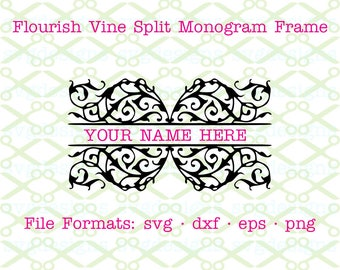 Flourish Vine Split Monogram Frame SVG, Dxf, Eps, Png. Digital Cut Files for Cricut, Silhouette; Vine Split Monogram Svg, Split frame Svg