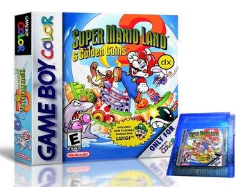 Super Mario Land 2 DX & Custom Case  - Now IN Color - Nintendo Game Boy GBC Deluxe