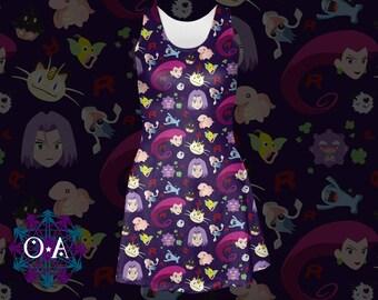 Team Rocket Dress - Skater Dress Pokemon Dress Anime Dress Plus Size Dress Cartoon Dress Jessie Dress James Dress Meowth Dress