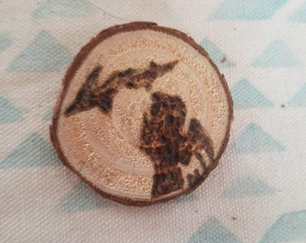 Wood burned button *Michigan