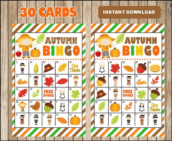 Printable 30 Fall Autumn Bingo Cards; printable Harvest Bingo game, Autumn printable bingo cards instant download