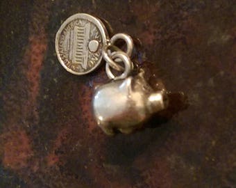 Vintage sterling silver piggy bank and penny charm necklace pendant or keychain charm