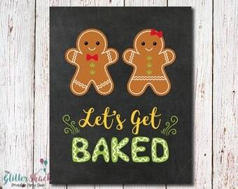 Let's Get Baked Sign, Marijuana Cookies, Cannabis Cookies, Weed Cookies, 420 Gift, Baking Gift, Baker Gift, Cannabis Cookie Exchange Party