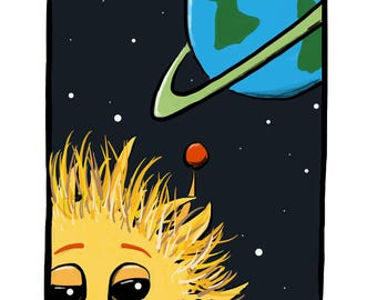 Furry Yellow Alien with a Big Nose in Front of a Blue Planet Cartoon Illustration