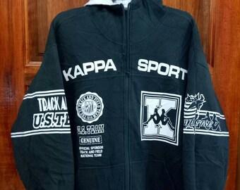 Rare!! KAPPA SPORT hoodies sweatshirt sweater Long sweater spell out full zipper dark green colour large size