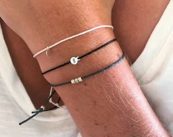 Personalized String Bracelet, Tiny Silver Customized Charm Bracelet, Lowercase Initial Silver Bracelet, Personalized Tiny Charm Bracelet