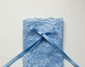 DIY Bramaking Lingerie Kit in White and Blue, Lingerie Sewing Kit with Stretch Lace
