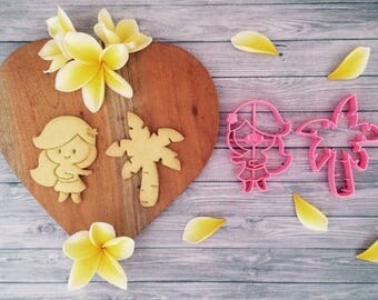 Hula Girl & Palm Tree Cookie Cutter/ Summer/ Island Girl/ Beach/ Vacation