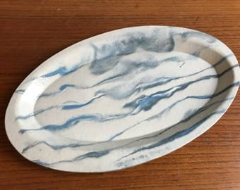 Blue and Grey Marbled Oval Ceramic Serving Platter