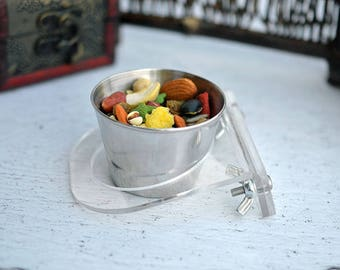 Miniture Stainless Steel Feeding  Cup with Acrylic Holder