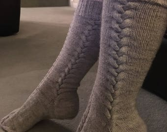 Cable Knit Knee High Grey Boot Socks