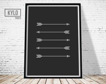 Arrows Print, Arrow Black and White Print, Wall Art Print, Home Print, Minimal Arrow Art, Arrows Digital Print, Minimalist Print, Home Art