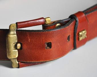 Vintage 70s brown leather belt, boho leather belt, cognac brown belt, high waist belt