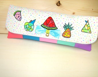 """""""Tutti frutti"""" Pocket embroidered faux leather and fabric"""