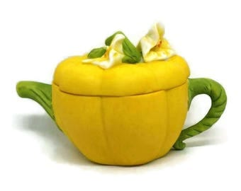 Vintage Collectible Decorative Novelty Teapot - Yellow Squash by Avon 1996