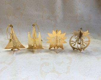 Set of 4 Vintage (1979) Danbury Mint 23K Gold-Electroplated Ornaments - Signed