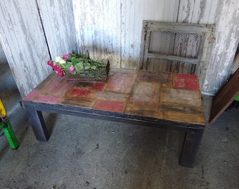 Industrial style steel and wood coffee table
