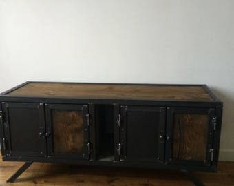 Raw wood and steel Tv Cabinet
