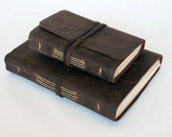 Leather Journal Notebook or Sketchbook | Rustic Brown | Lightweight Travelers Journal | Handmade Ecofriendly Lokta Paper | Made in Nepal