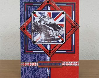Male Birthday Card - Mini Car/Automobile  - personalised quality special custom union jack UK - Dad/Son/Uncle/Brother/Nephew/Grandad