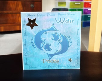 Pisces Horoscope Birthday Card - Zodiac/Star Sign -luxury personalised unique quality special astrological UK
