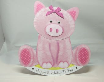 Pig 3D Wobbler Male/Female/Kids/Children's Birthday Card - luxury quality UK - Mum/Grandma/Daughter/Aunt/Niece/Sister/Wife