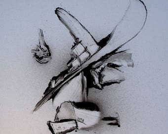 Abstract paint signed black and white Galad