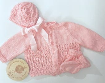 Hand knitted pink baby girl matinee jacket, bonnet & booties.