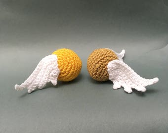 Crocheted Gold Snitch/crocheted Golden Snitch/inspired by Harry Potter