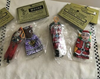 Vintage Lot of Shackman Finger Puppet Mouse Finger puppet Santa Santa Ornaments Christmas Decor Christmas Decoration Collectible Christmas