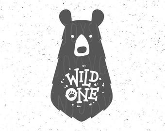 Wild One SVG file Baby Bear svg Wild one svg Baby Birthday svg Bear paw svg Wild One Svg Cut file Baby SVG Silhouette Cricut Svg Cutting