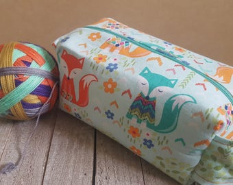 Medium Sized Project Box Bag for Knitting or Crochet; Toiletry or Makeup Bag - Cozy Fox