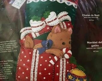 "Vintage NEW sealed Bucilla stocking kit Kitty's Christmas 18"""