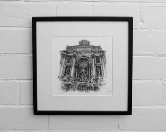 Rome Set of 3 Prints - Trevi Fountain, St Peter's Basilica, Pantheon,Rome Art Print, Rome Wall Art, Rome Drawing, Italy Gift, Drawing Prints