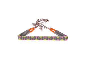 Valentine Gift- handmade seed bead choker with grey, pastel purple & green, orange seed beads- hand loom woven, Nepali inspired, only 1 made