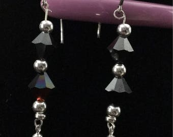 Swarovski and sterling silver dangle earrings
