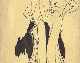 1930s Vintage VOGUE Sewing Pattern B34 DRESS (1834) VOGUE 6598