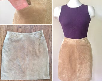 Tan Suede Mini Skirt, size 2, size xs, skirt with pockets, mini skirt, suede skirt, camel suede, vintage suede skirt, suede skirt pockets