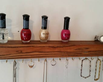 Wall mounted jewelery holder, Floating Shelf, Suspended Shelf, Reclaimed Pallet Wood Shelf, Rustic Floating Shelf