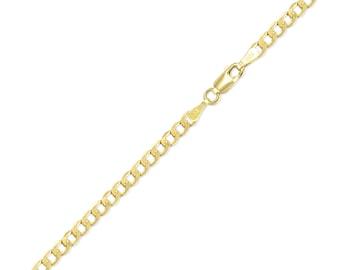 "14K Yellow Gold Hollow Cuban Bracelet 3.5mm 7-9"" - Curb Chain Link"