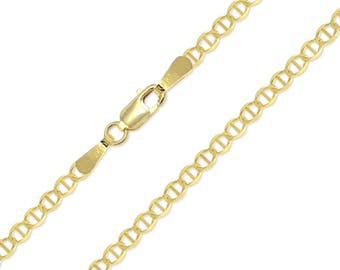 "14K Solid Yellow Gold Mariner Necklace Chain 2.7mm 16-24"" - Anchor Link"