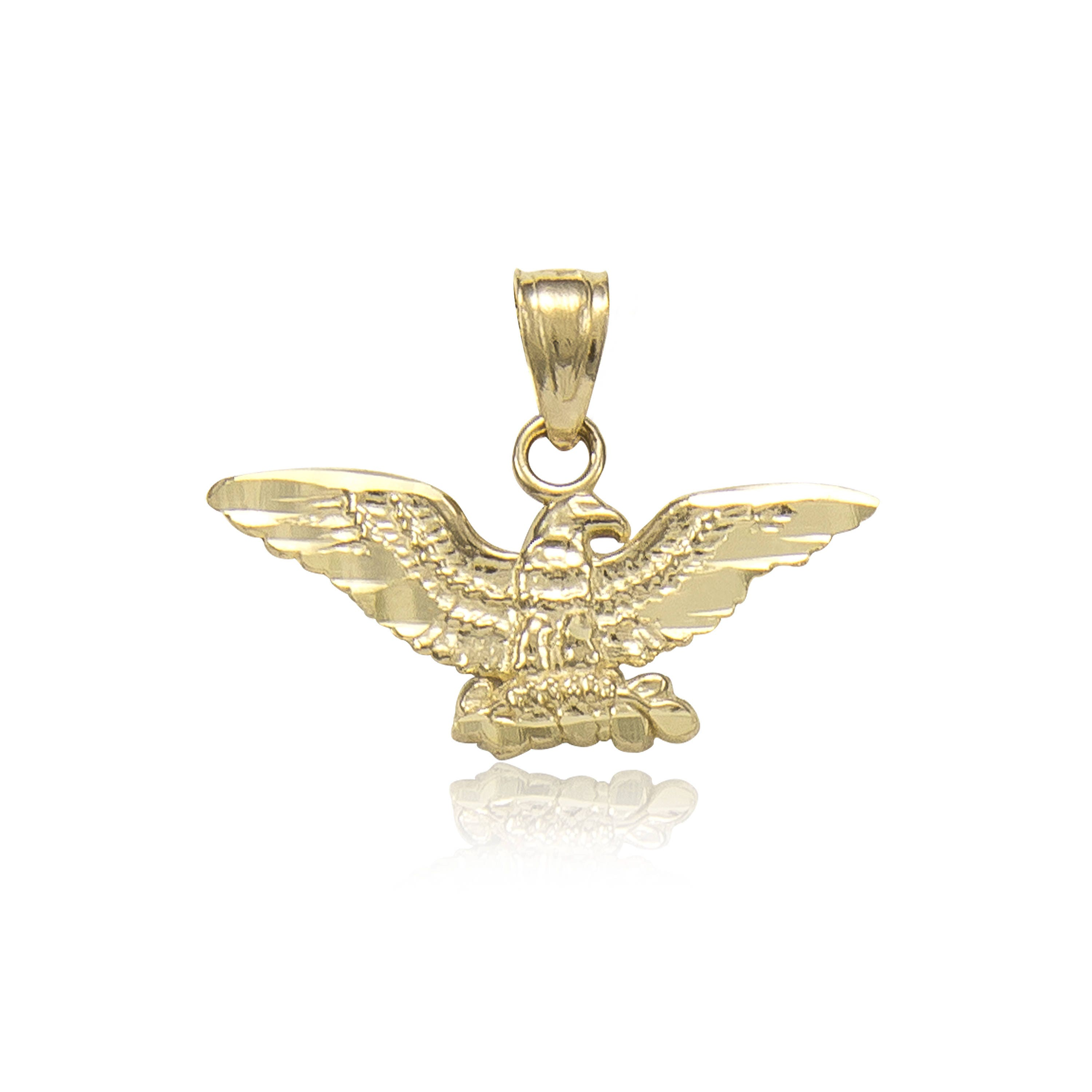 14k solid yellow gold eagle pendant flying bird diamond cut 14k solid yellow gold eagle pendant flying bird diamond cut necklace charm aloadofball Images
