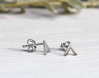 Silver earrings 925 open triangle