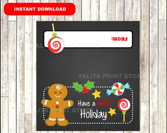 Gingerbread Man, Christmas Treat Bag Topper, Christmas Candy Bag Topper, Instant Download, Printable Gingerbread Man Candy Bag Tag