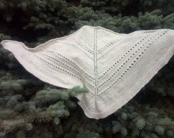 Knited shawl Women shawl white shawl triangle Scarf gift for wife gift under 50  Christmas gift