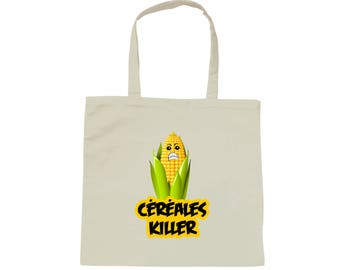 Tote bag white bag cereal killer - humor