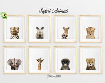 Safari Nursery Decor, Safari Animal Prints, Printable Art, Nursery Wall Art, Nursery Safari Prints, Giraffe, Elephant, Monkey, Tiger, Zebra