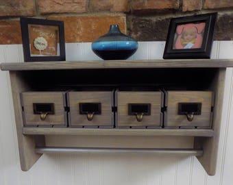 Bathroom Shelf w/ Towel Bar / Little Storage Crates / Rustic / Short